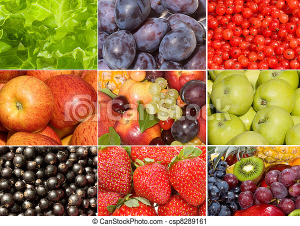 collection of different fruits, berries and vegetables - csp8289161