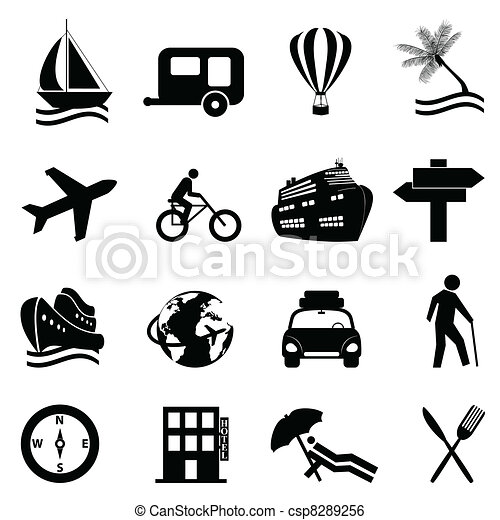 Leisure, travel and recreation icon set - csp8289256
