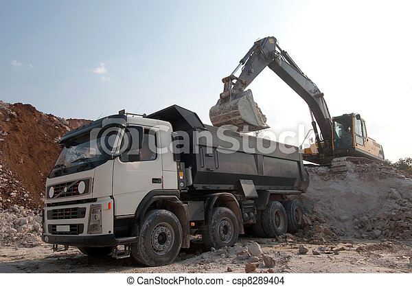 loading a large lorry building material - csp8289404