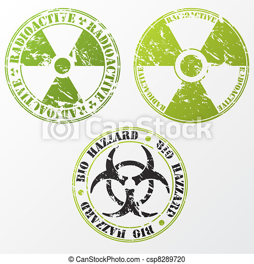 Bio hazard and radioactive stamp set - csp8289720