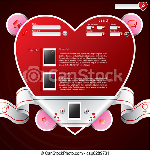 Ribbon wrapped heart shape website template - csp8289731