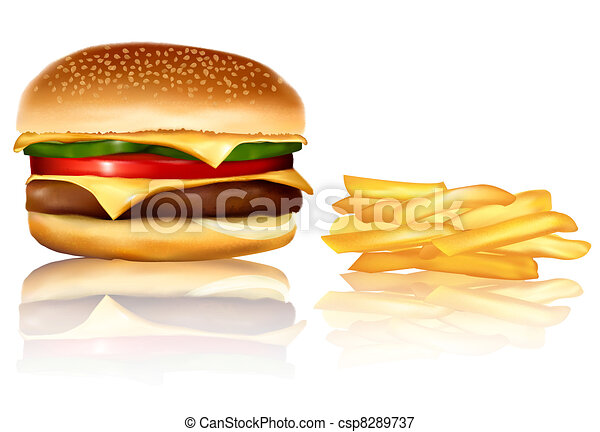 Hamburger and french frie. Vector. - csp8289737