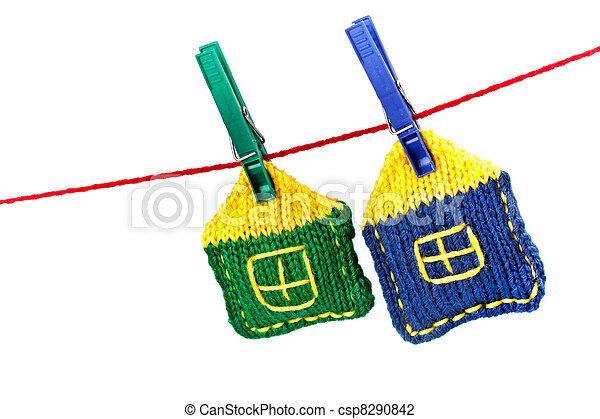 two knitted colorful houses - csp8290842