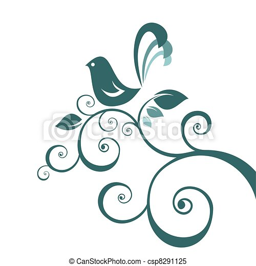 bird and floral pattern - csp8291125