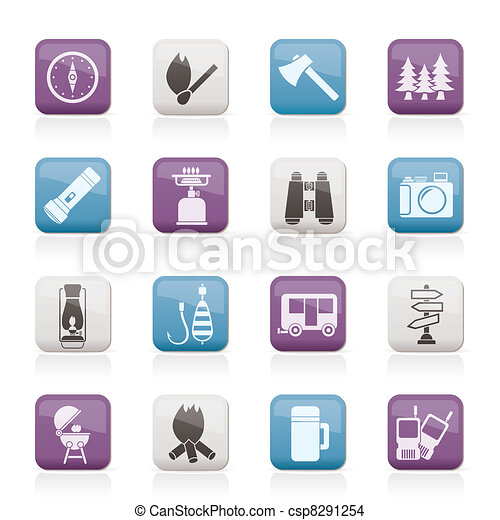 Camping, travel and Tourism icons - csp8291254