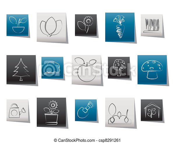 Different Plants and gardening Icon - csp8291261