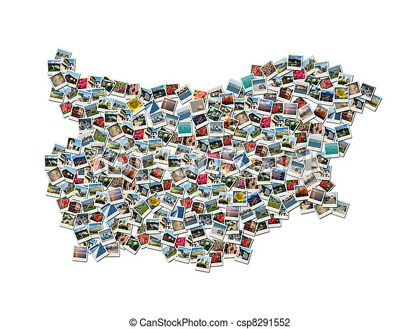 Map of Bulgaria - collage made of travel photosg - csp8291552