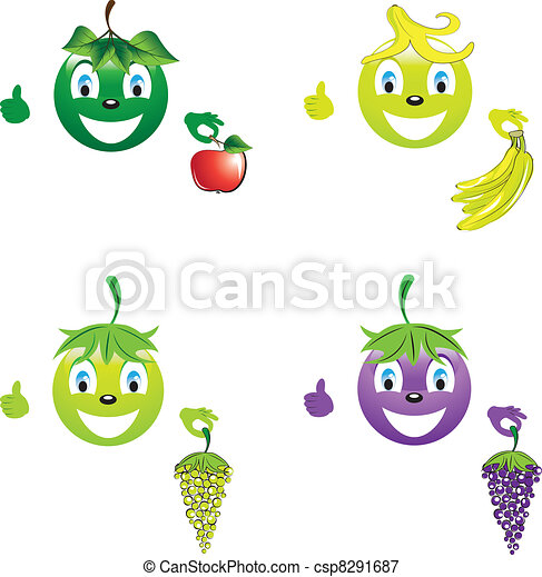 Smiley with fruit for a healthy lifestyle - csp8291687