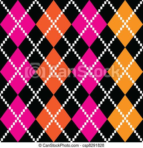 Retro colorful argile pattern - orange and pink on black backgro - csp8291828