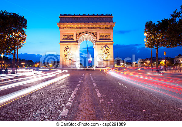 Evening traffic on Champs-Elysees in front of Arc de Triomphe (Paris, France) - csp8291889