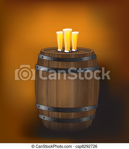 Barrel with beer glasses [Converted] - csp8292726