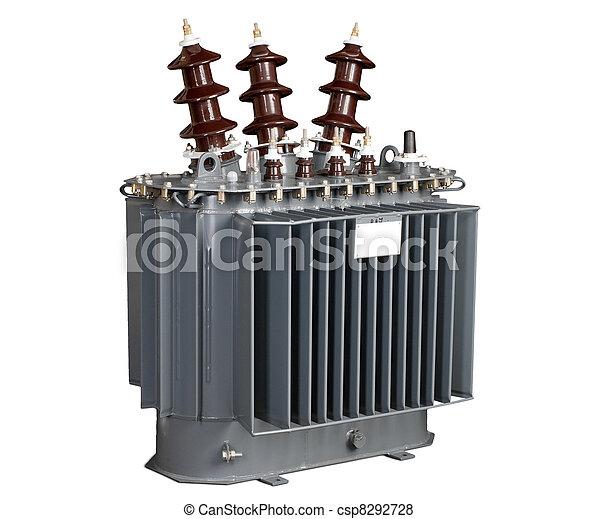 high-voltage transformer on a white background - csp8292728