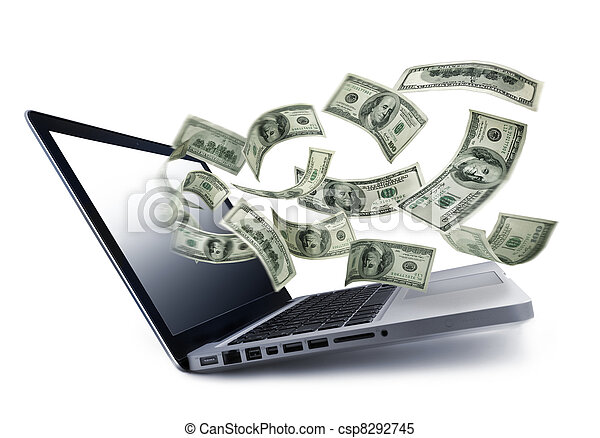 Money pouring out from a notebook computer - csp8292745