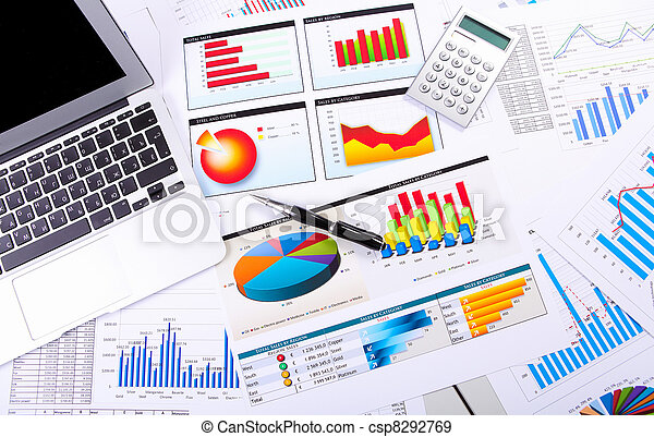 Graphs, charts, business table. - csp8292769