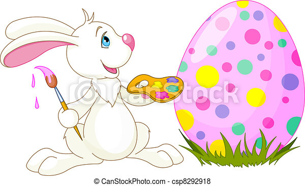 Cute Bunny and Easter Egg - csp8292918