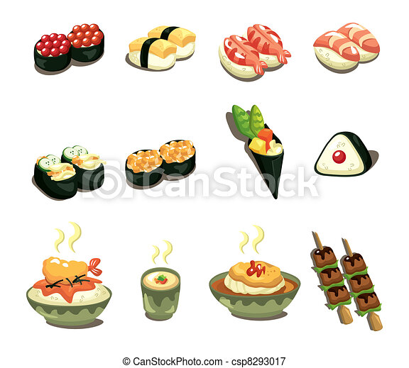 cartoon Japanese food icon set - csp8293017