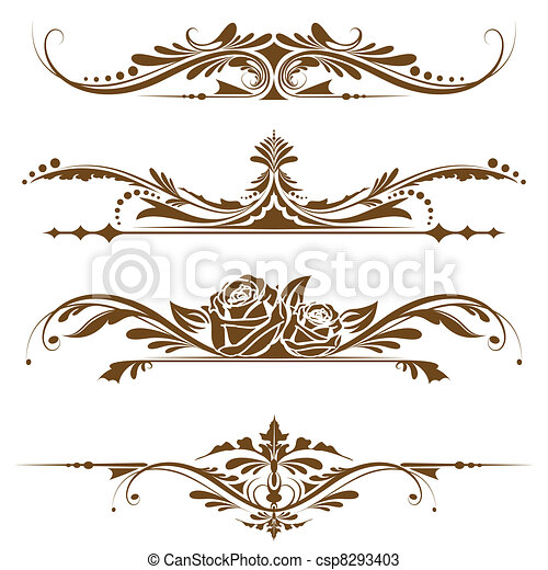 Vectors of Vintage Page Border - illustration of set of vintage ...