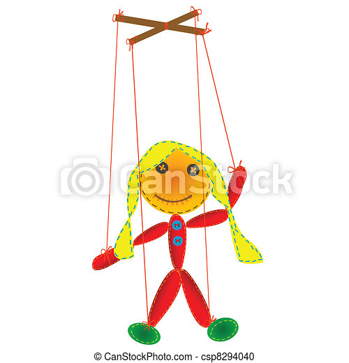 Handmade marionette, puppet on a string - csp8294040