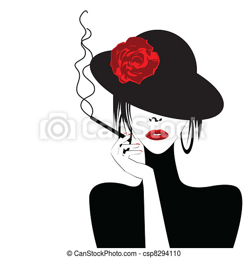 Sexy woman with a cigar - csp8294110