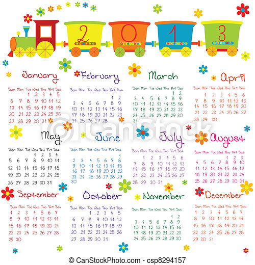 Doodle calendar for 2013 - csp8294157