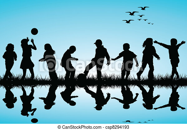 Silhouettes of children playing near a water - csp8294193