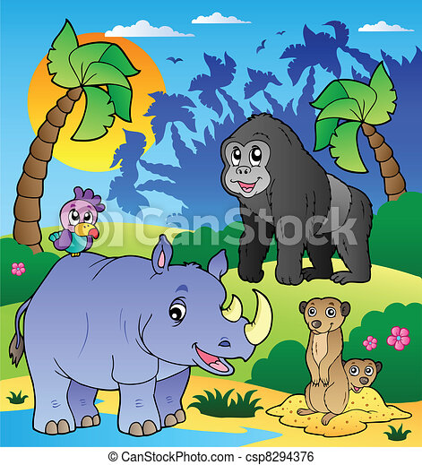 African scenery with animals 6 - csp8294376