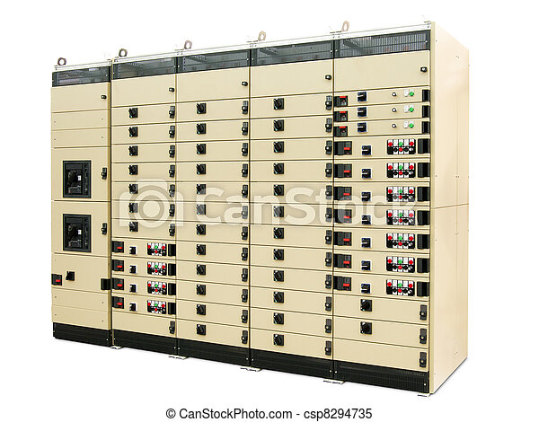 transformer cabinet of the eight sections on a white background - csp8294735