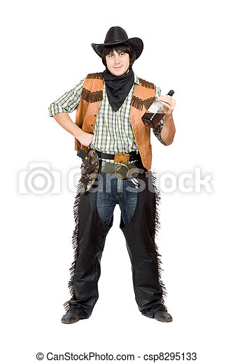 Smirking cowboy with a bottle - csp8295133