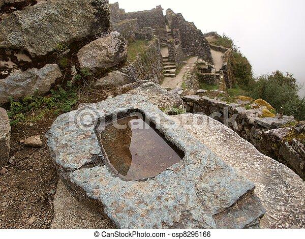 Water mirror in Inca building - csp8295166
