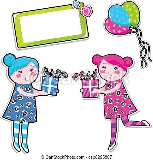 Vectors Illustration Of Birthday Girls Set Two Cute