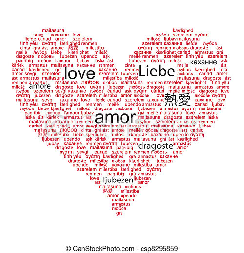 Love concept word in many languages of the world in red and black color - csp8295859
