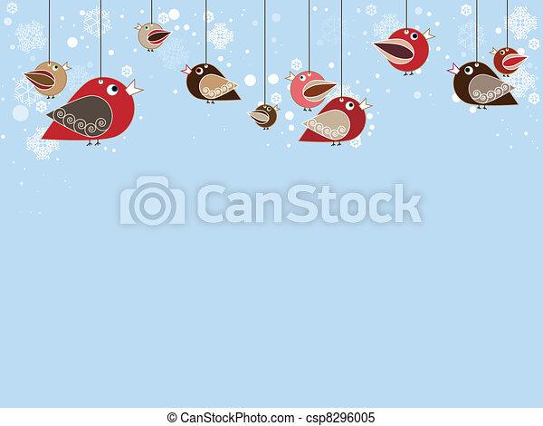 Singing birds with beatiful falling snowflakes - csp8296005