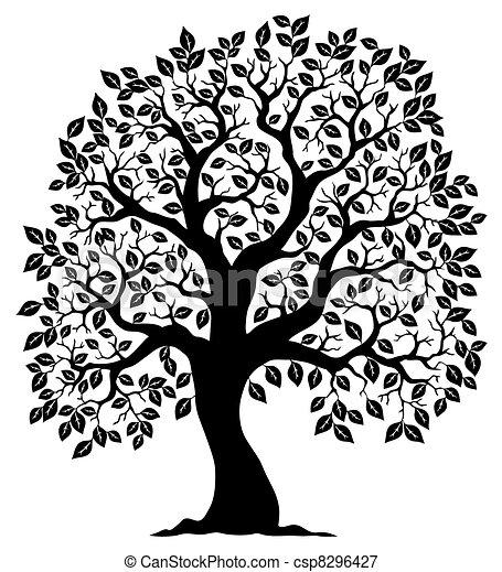 樹,  3, 黑色半面畫像, 成形 - csp8296427