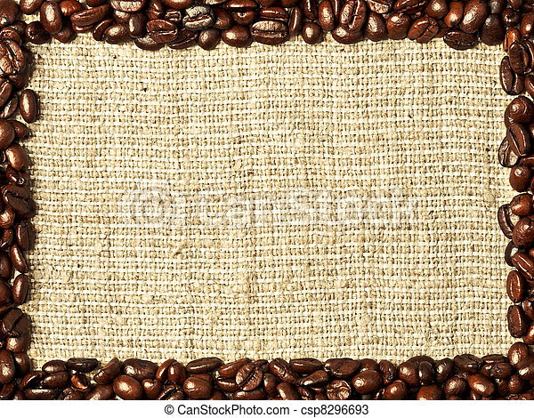 Frame from coffee beans on burlap background