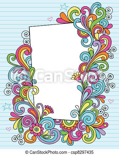 Psychedelic Notebook Doodles Vector - csp8297435