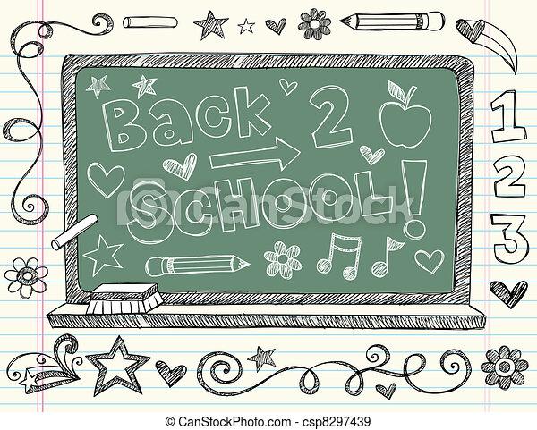 Back to School Chalkboard Doodle - csp8297439