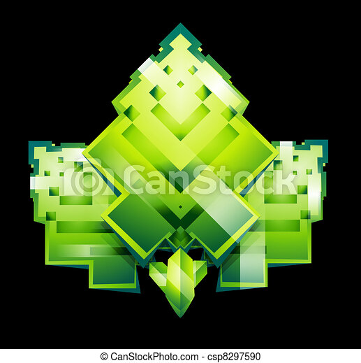 Stylized square pixeled leaves - csp8297590