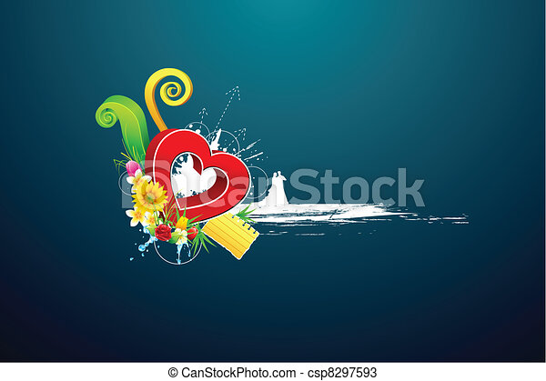 Abstract Love Background with couple - csp8297593