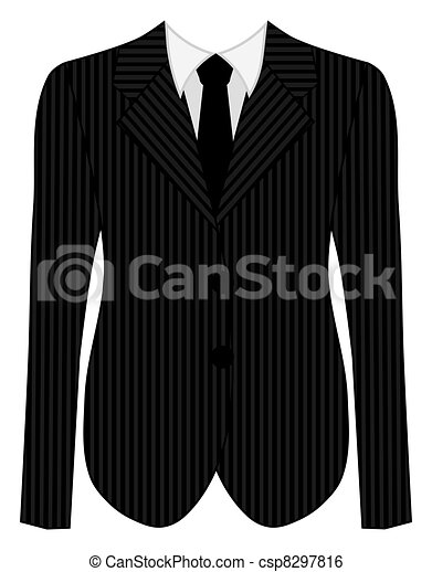 Stock Illustration of Mans Business Pinstripe Black Suit