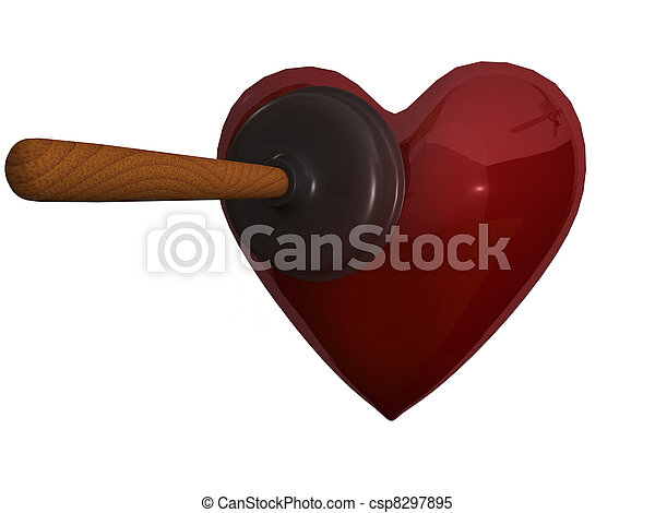 A plunger and heart - csp8297895