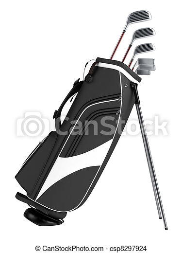 Drawing of Black bag with golf clubs isolated on white ...