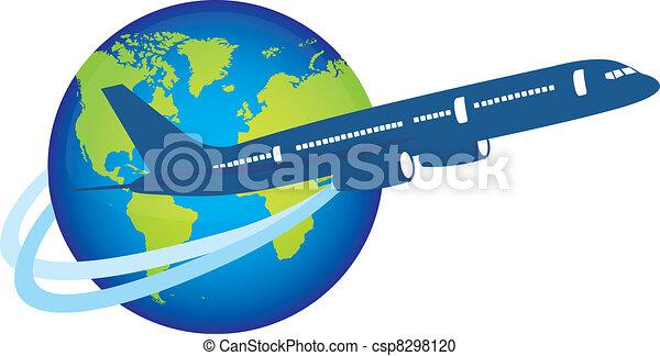 plane over planet - csp8298120