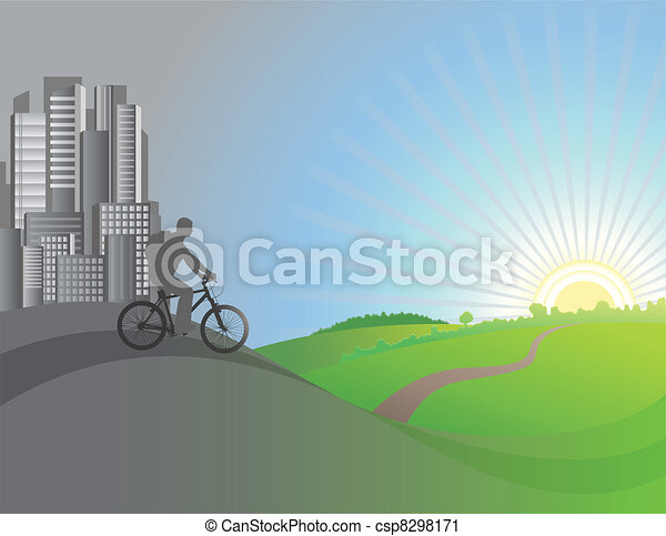 The cyclist leaves the city. Vector illustration - csp8298171