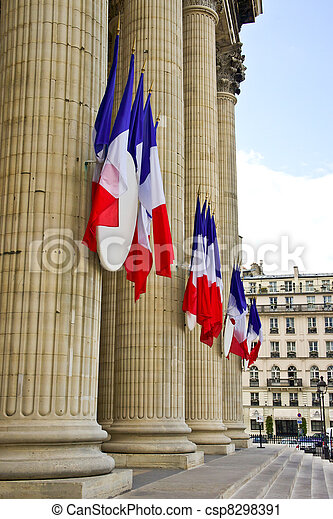 French tricolor flags hang on the Pantheon during the Fete Nationale (Bastille Day) - csp8298391