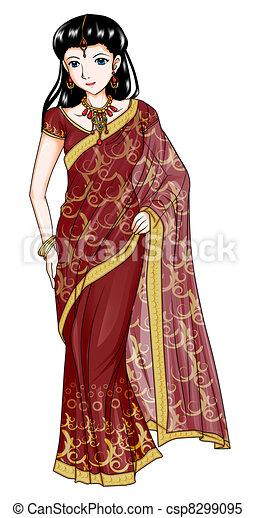 stock illustrations of india traditional costume cartoon