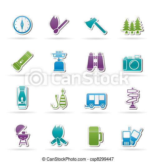 Camping, travel and Tourism icons - csp8299447