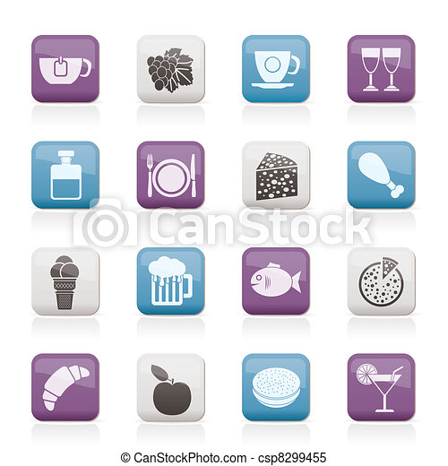 Food, Drink and beverage icons - csp8299455