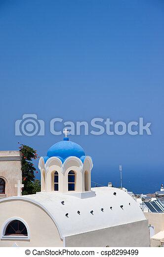 blue dome churches at santorini - csp8299499