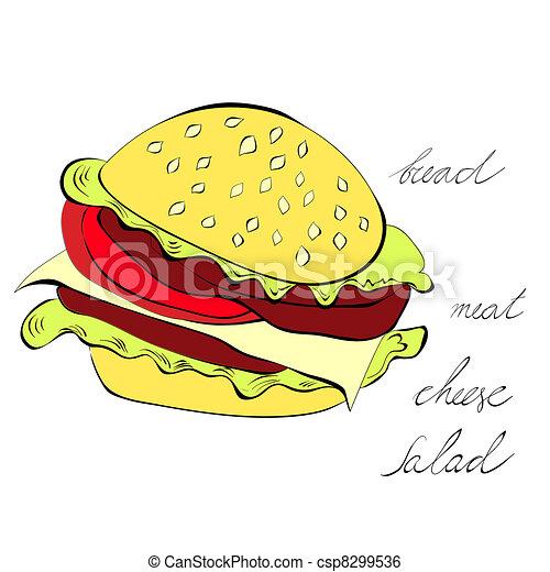 Hamburger isolated on white background - csp8299536