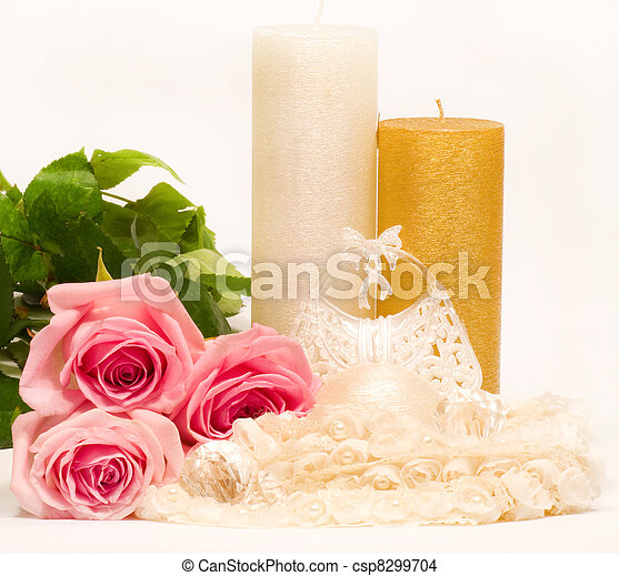 candle and pink roses - csp8299704